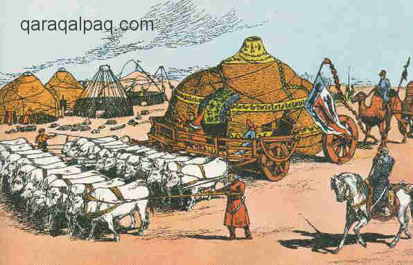 Transporting a Mongol yurt