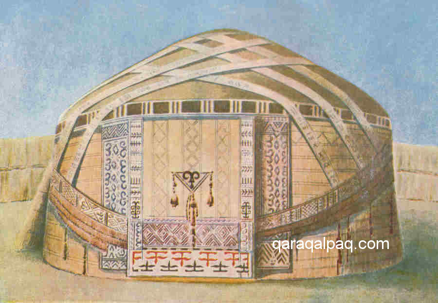 Painting of a Qaraqalpaq yurt